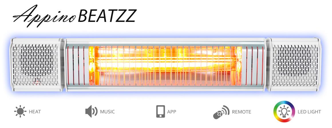 Infrared-patio-wall-heater-bluetooth-sound-system-light-ip65-weatherproof