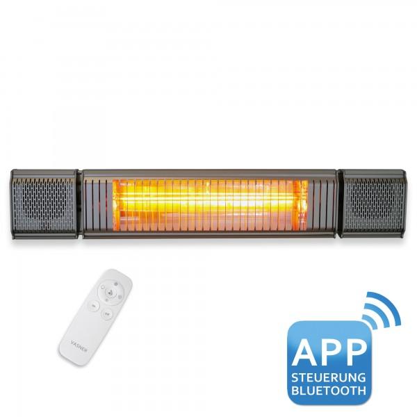 VASNER Appino BEATZZ Silber Heizstrahler mit Soundsystem und LED Licht