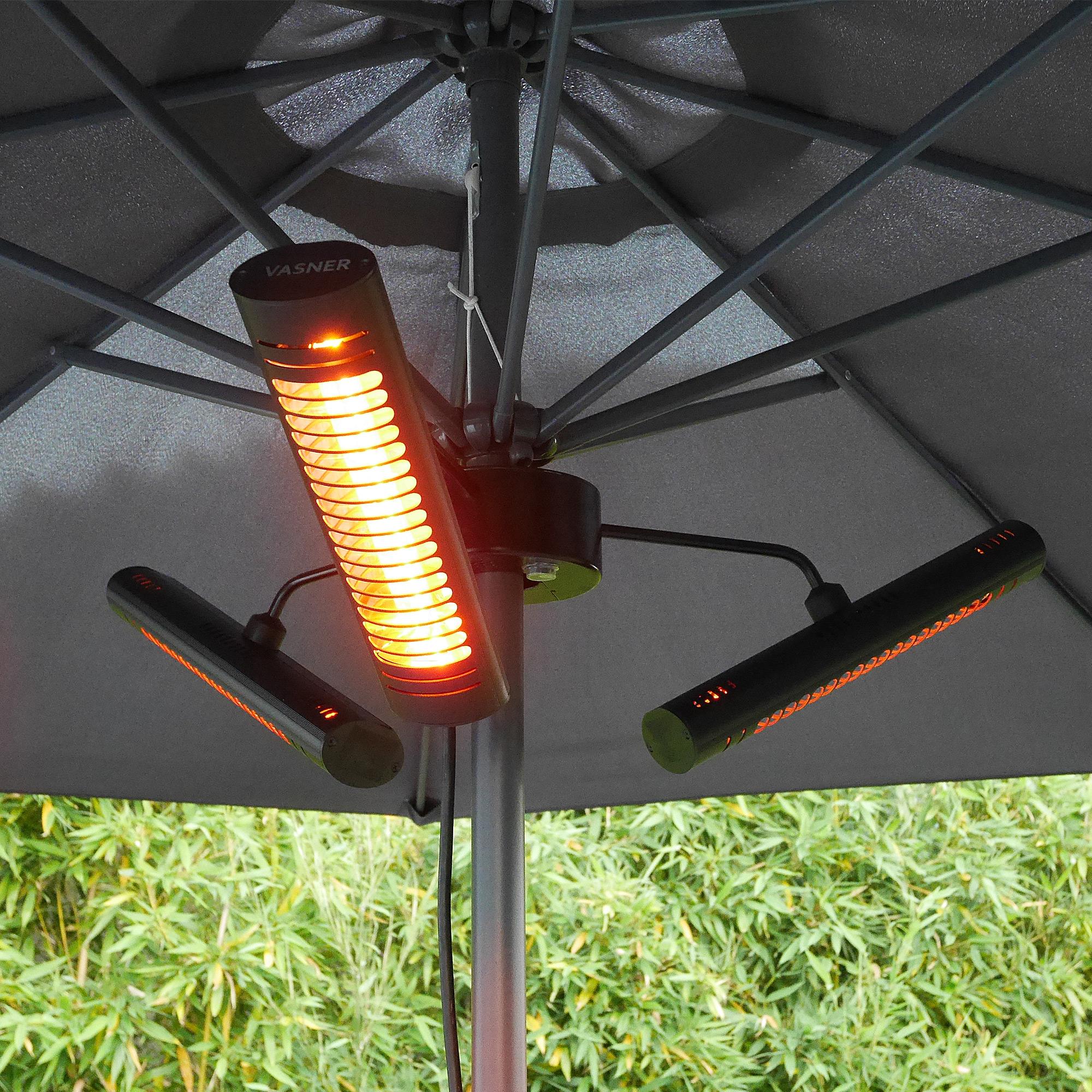 VASNER Umbrella X20 Parasol Patio Heater 2000 Watts Black