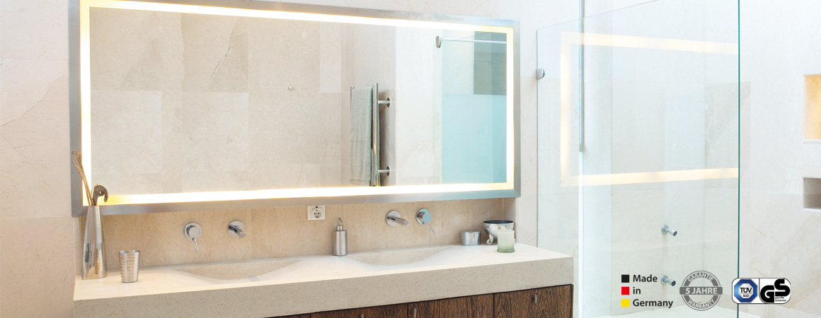 Infrarot Spiegelheizung mit Beleuchtung, Rahmen, IP-X4 Spritzwasserschutz, 5 Jahre Garantie