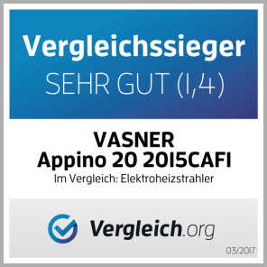 Comparison-test winner: VASNER Appino 20 2015CAFI - Very good (1,4) In a comparison of electric patio heaters