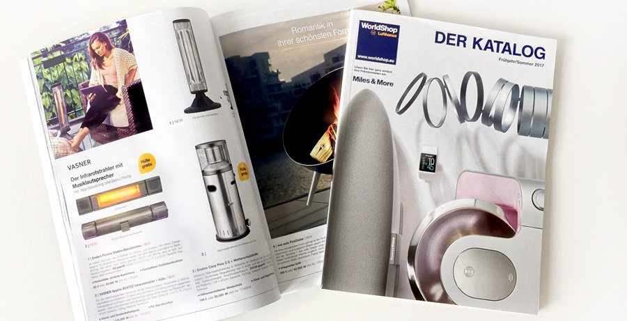 Lufthansa World Shop catalogue opened to VASNER BEATZZ page