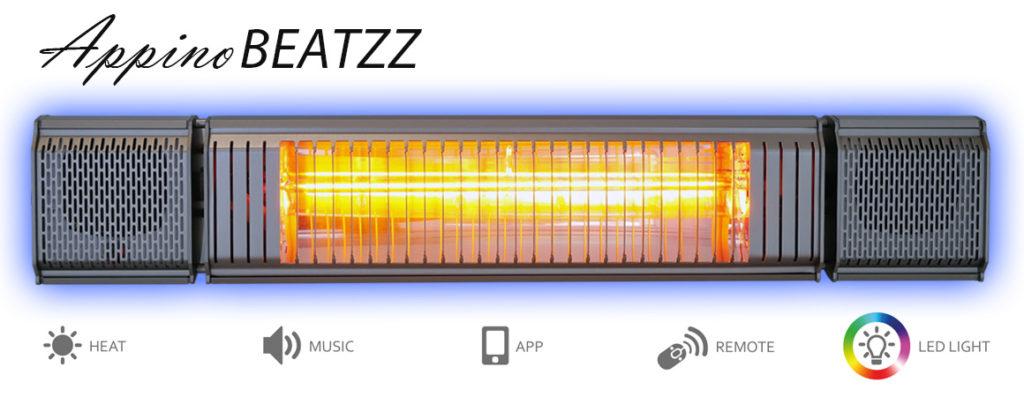 Heizstrahler mit Musik und Licht