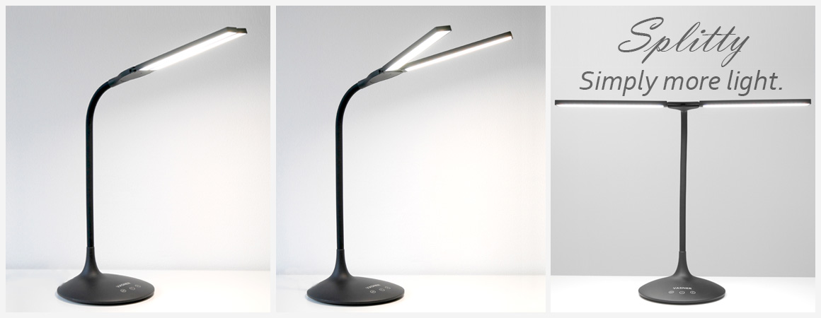 The table lamp for your desk with even more light and flexible light distribution.