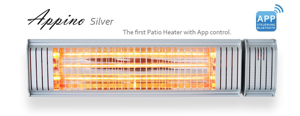 VASNER Appino 20 Silver Infrared Patio Heater with Bluetooth App Control