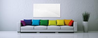 Weiße Infrarot Wandheizung im Wohnzimmer