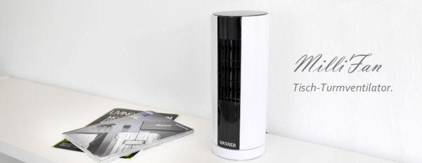 Der kleine Design Turmventilator für Tisch und Schreibtisch