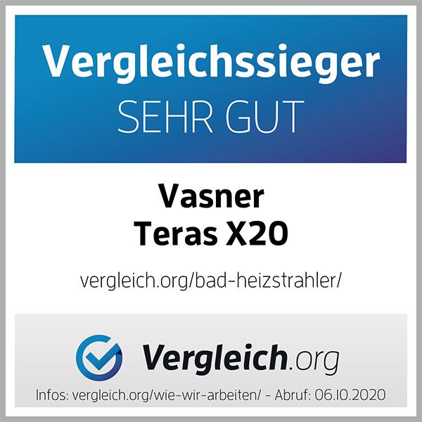 Bad Heizstrahler Testsiegel VASNER Teras X20 mit IP65 Spritzwasserschutz