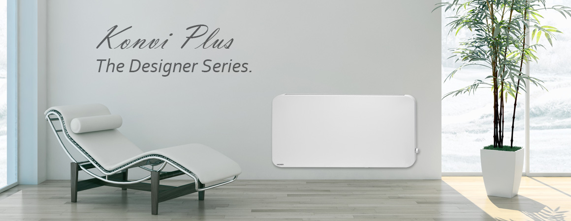 Konvi Plus hybrid infrared panel heater with rounded corners