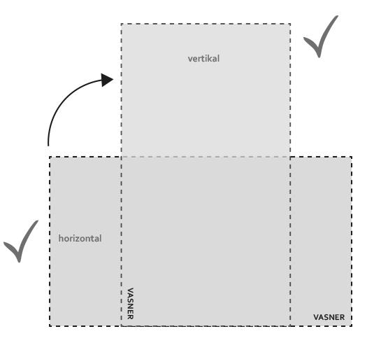 Farbige Infrarotheizung vertikal oder horizontal montieren