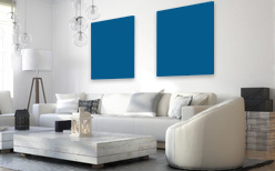 Infrarotheizung farbig gestalten in Verkehrsblau RAL 5017