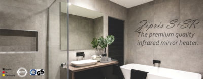 infrared mirror heater VASNER Zipris Made in Germany IPX4 for bathrooms