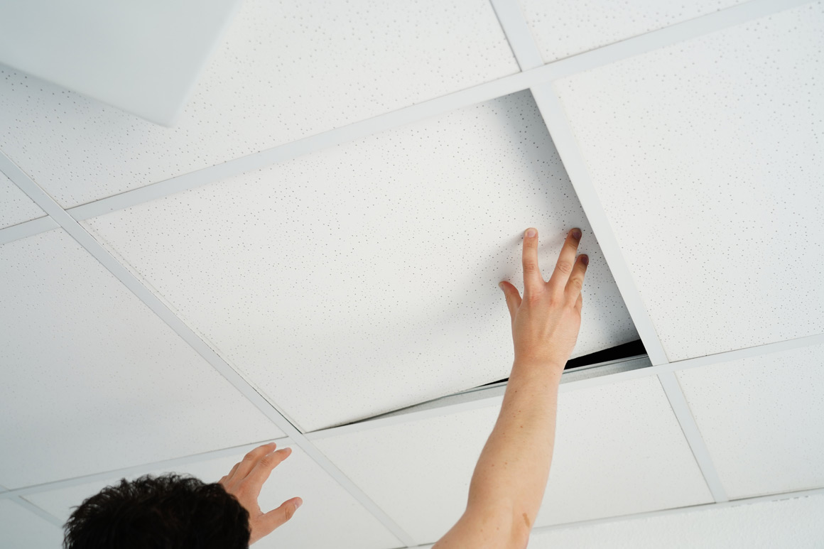 Far infrared panels as ceiling tiles