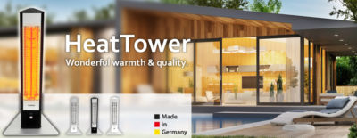 Portable outdoor heaters with remote control + IP65 weather protection