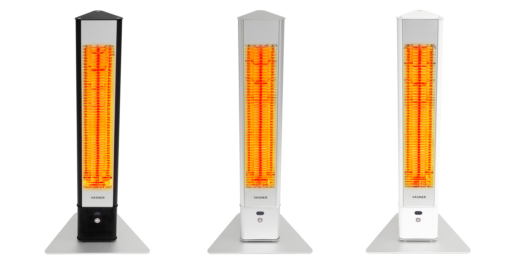 Portable outdoor heaters in black, silver, white