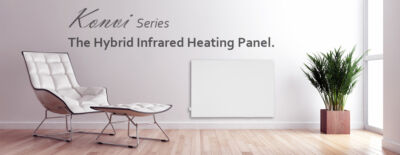 Hybrid infrared heating panel VASNER Konvi electric heater with thermostat control