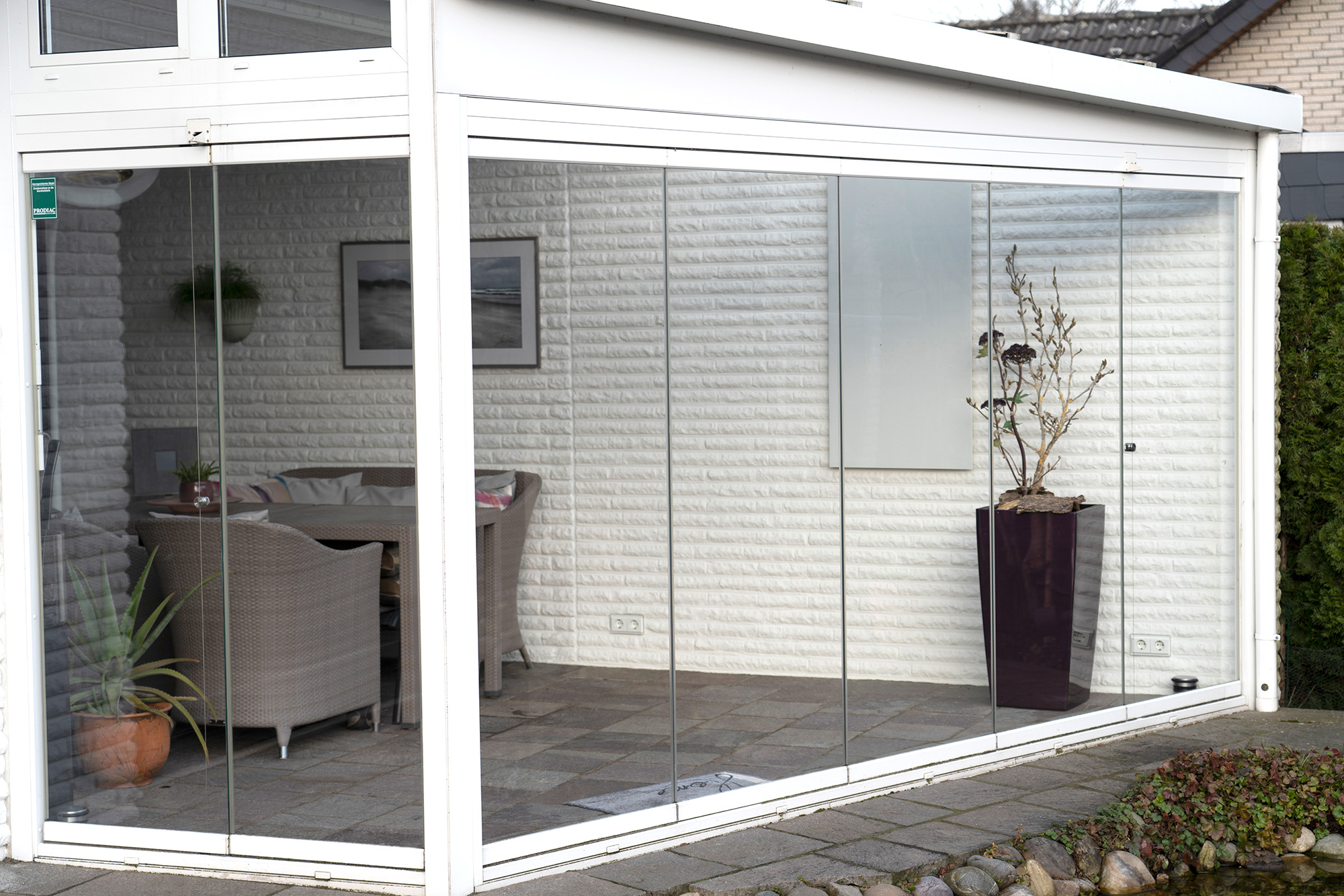VASNER Glas Infrarotheizung im isolierten Einfamilienhaus Wintergarten