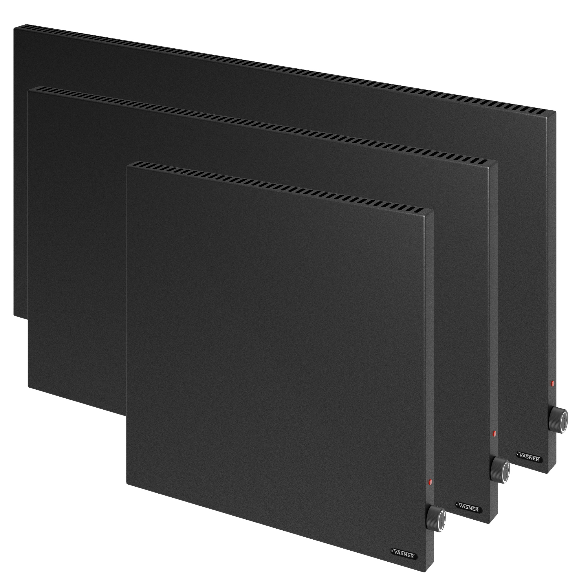 Black hybrid heating panel with output 600 - 1200 watts