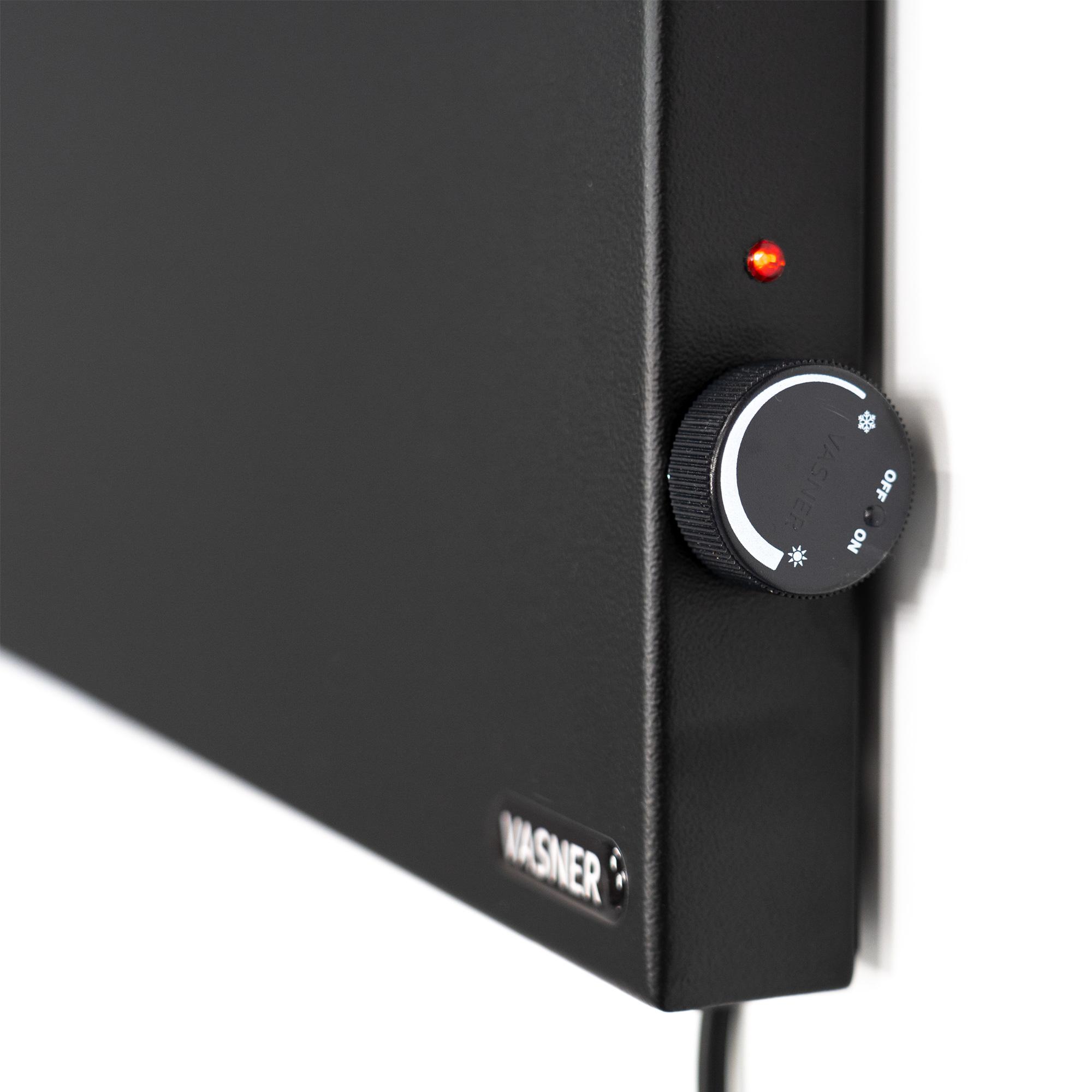 Hybrid Infrarotheizung Schwarz mit Thermostat stufenlos