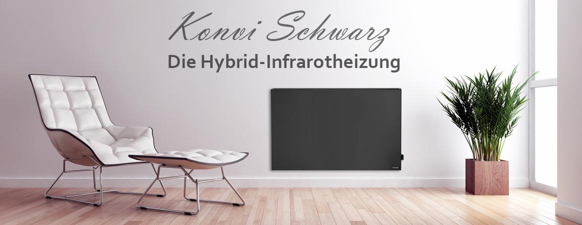 Konvi Infrarotheizung Hybrid Paneel in Schwarz