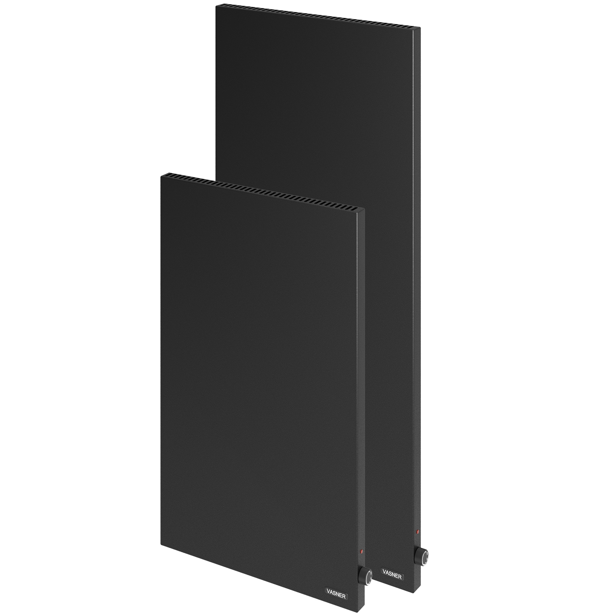 Vertical electric heaters in black with 1000 - 1200 watts