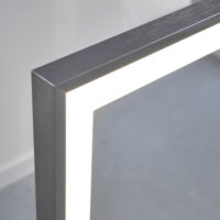 Infrared panel with heated mirror glass + LED light