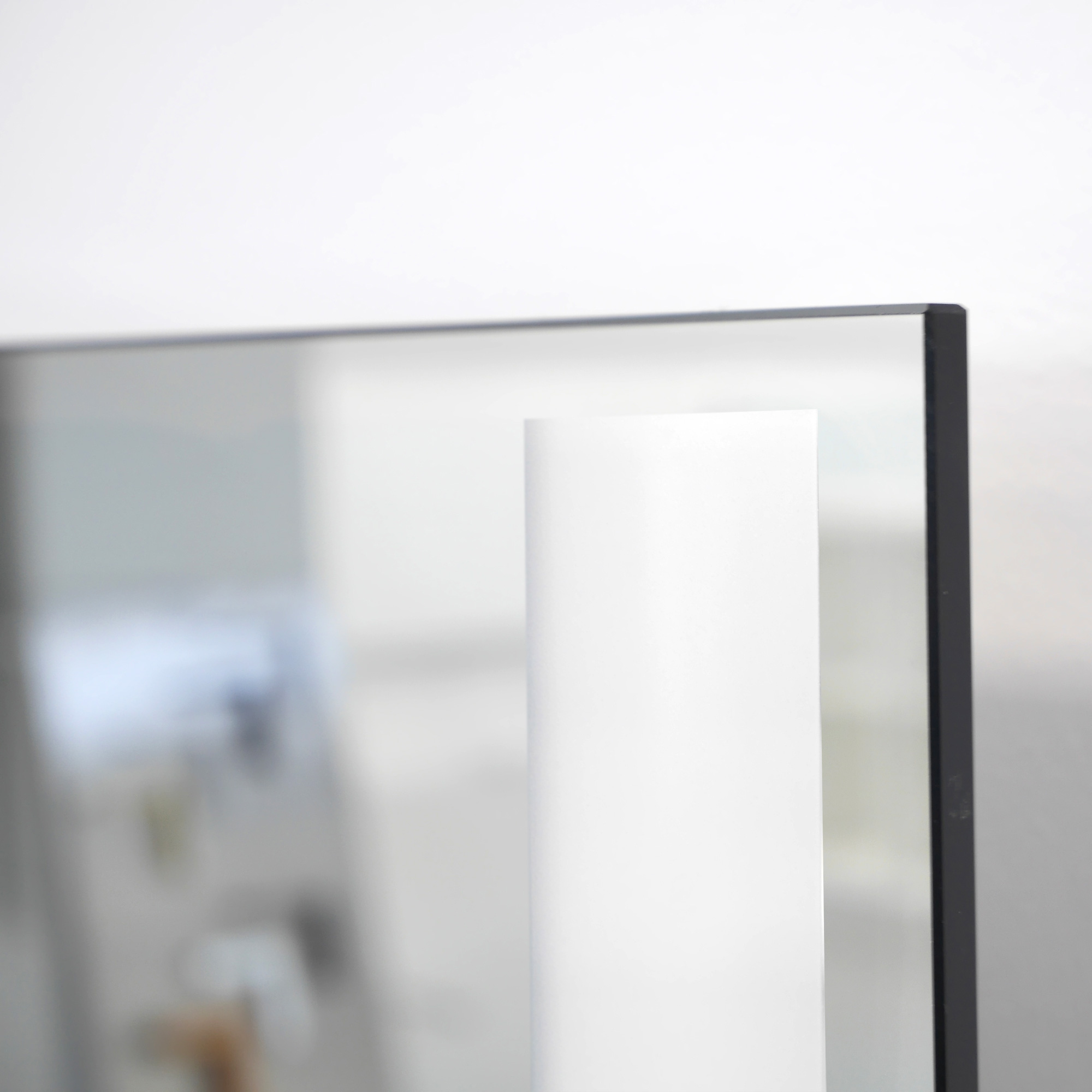 Super flat mirror heating panel with LED light strips