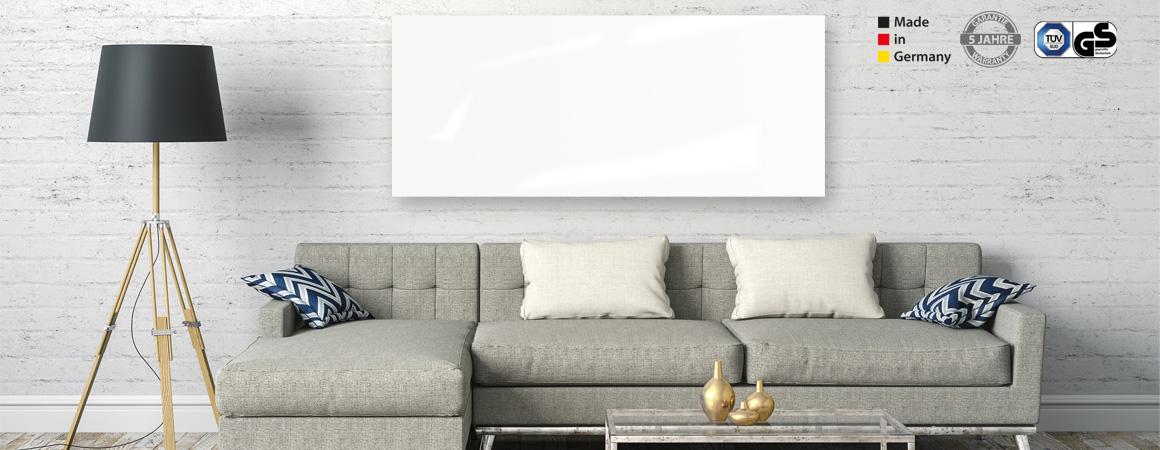 Infrarotpaneele für Wand aus Glas in Weiß