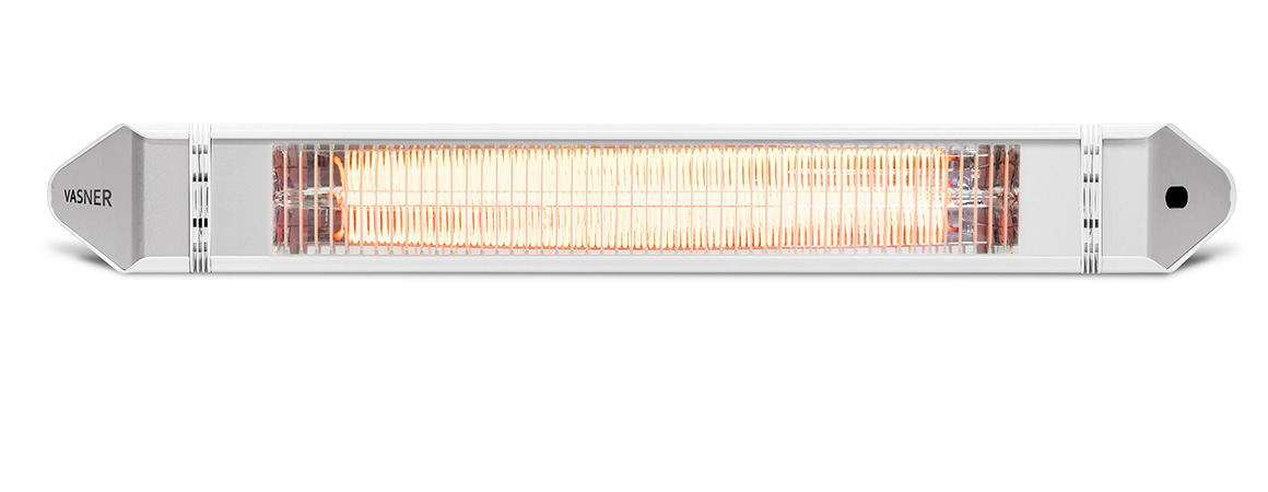 Elegant patio heater in white, extra-slim, wall + ceiling mounting