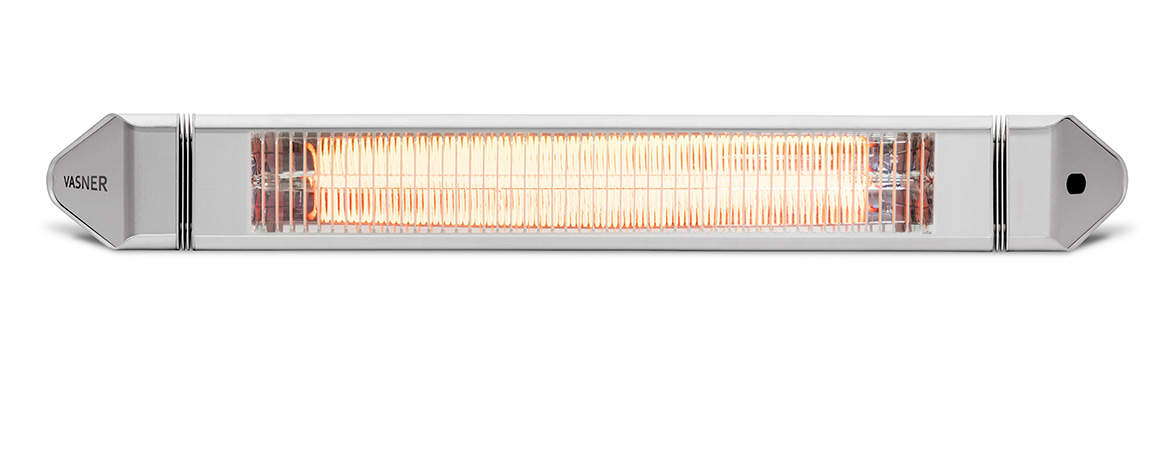 Silver patio heater infrared 2500 watts