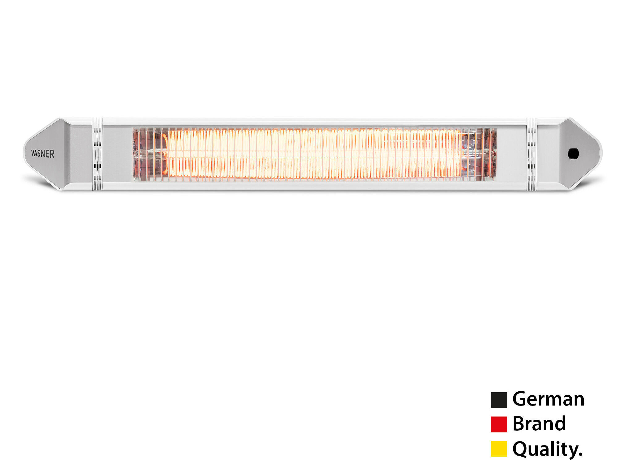 Slim electric patio heater for wall, ceiling, vertical corner installation