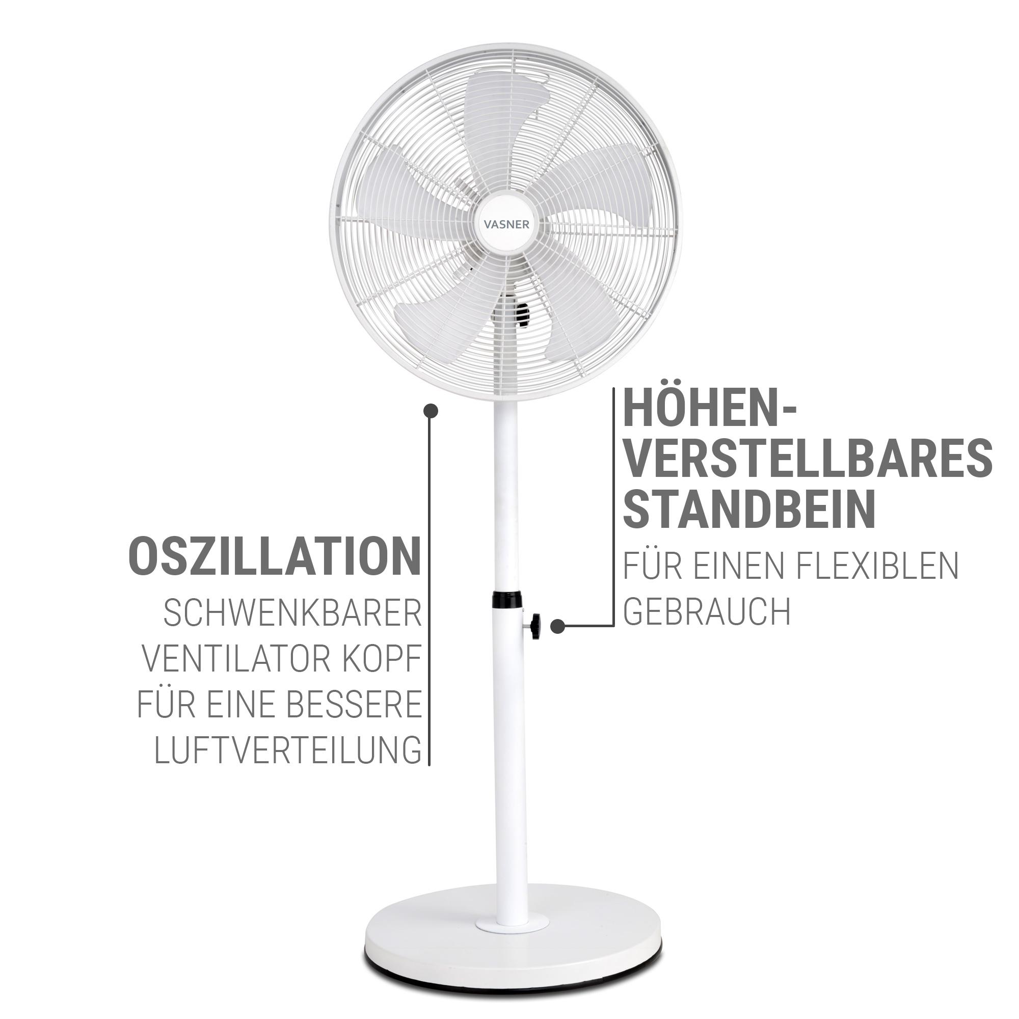 Stand Ventilator höhenverstellbar weiß Metall