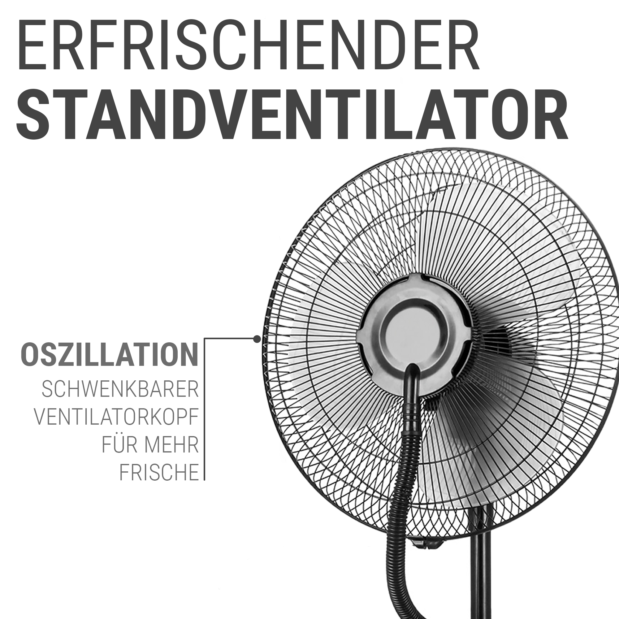 Standventilator leise, neigbar mit optionaler Oszillation