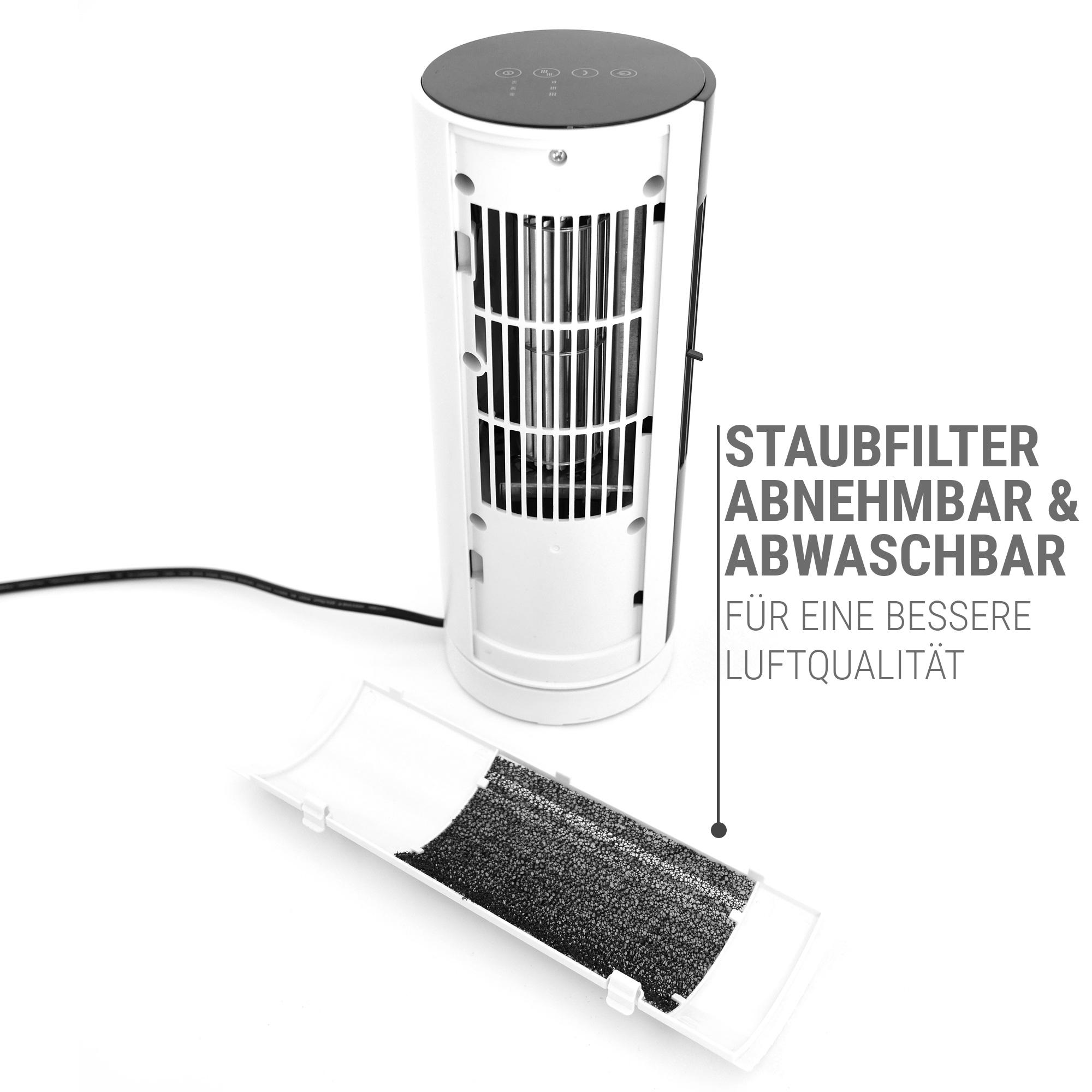 Turmventilator Tischventilator schwarz weiß mit Filter