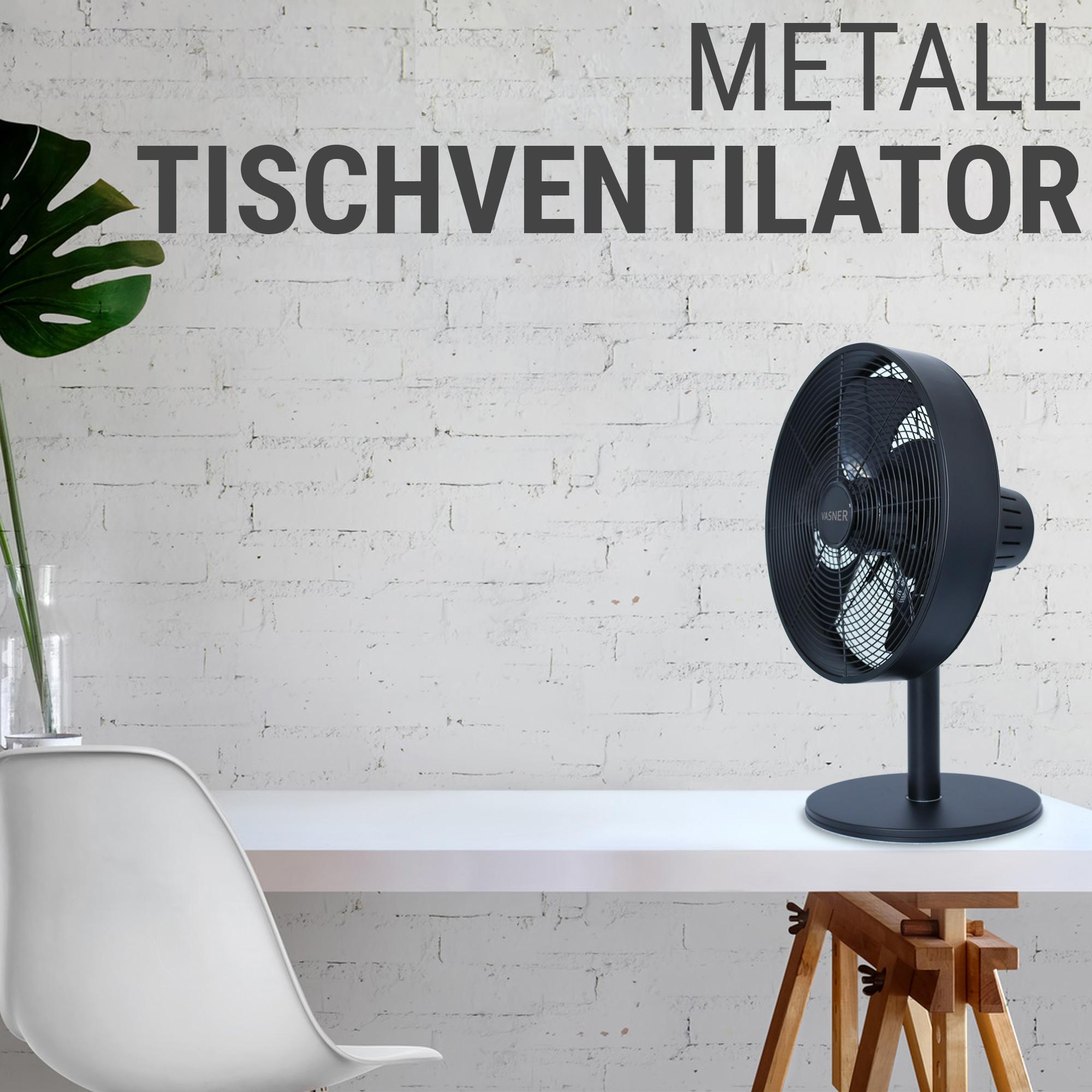 Tischventilator Metall Design schwarz-pulverbeschichtet