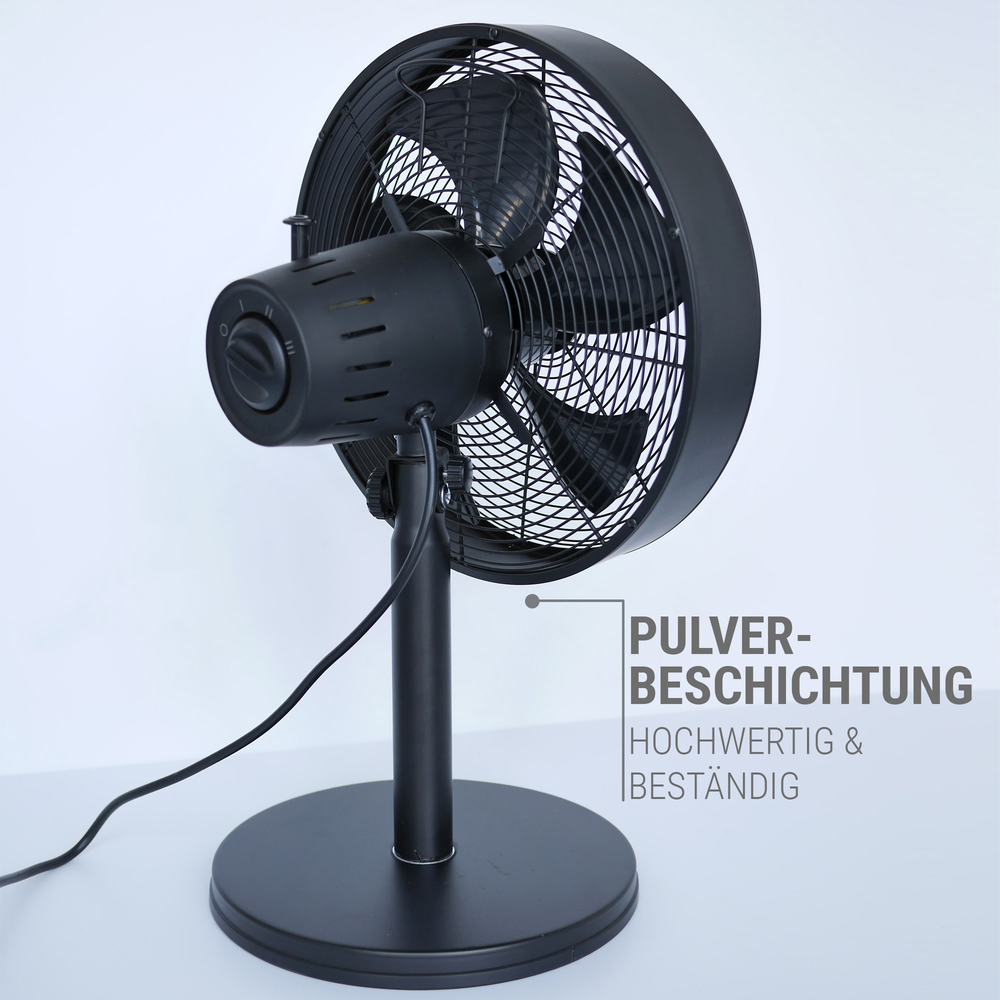 Tischventilator Metall Pulverbeschichtung schwarz beseht Test der Zeit