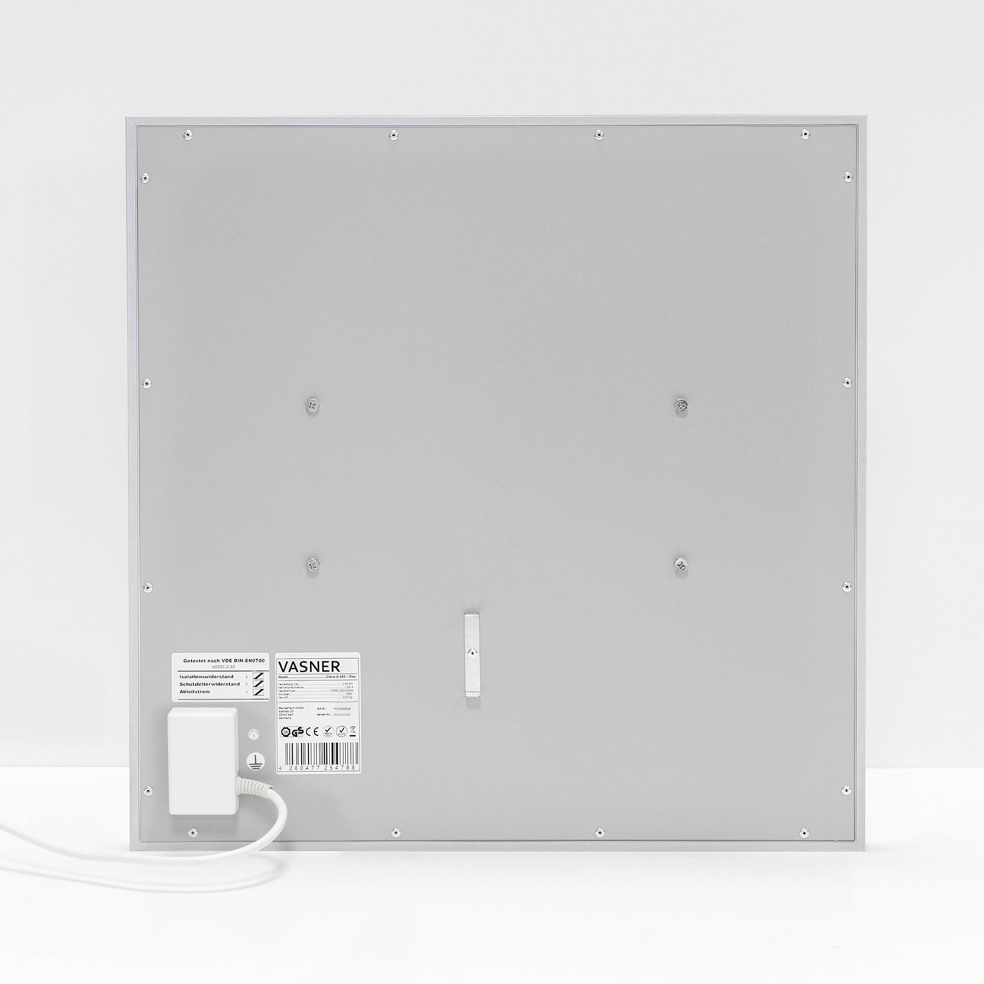 Glas Infrarotheizung mit spezieller Rückseiten Isolierung für noch effizienteres Heizen