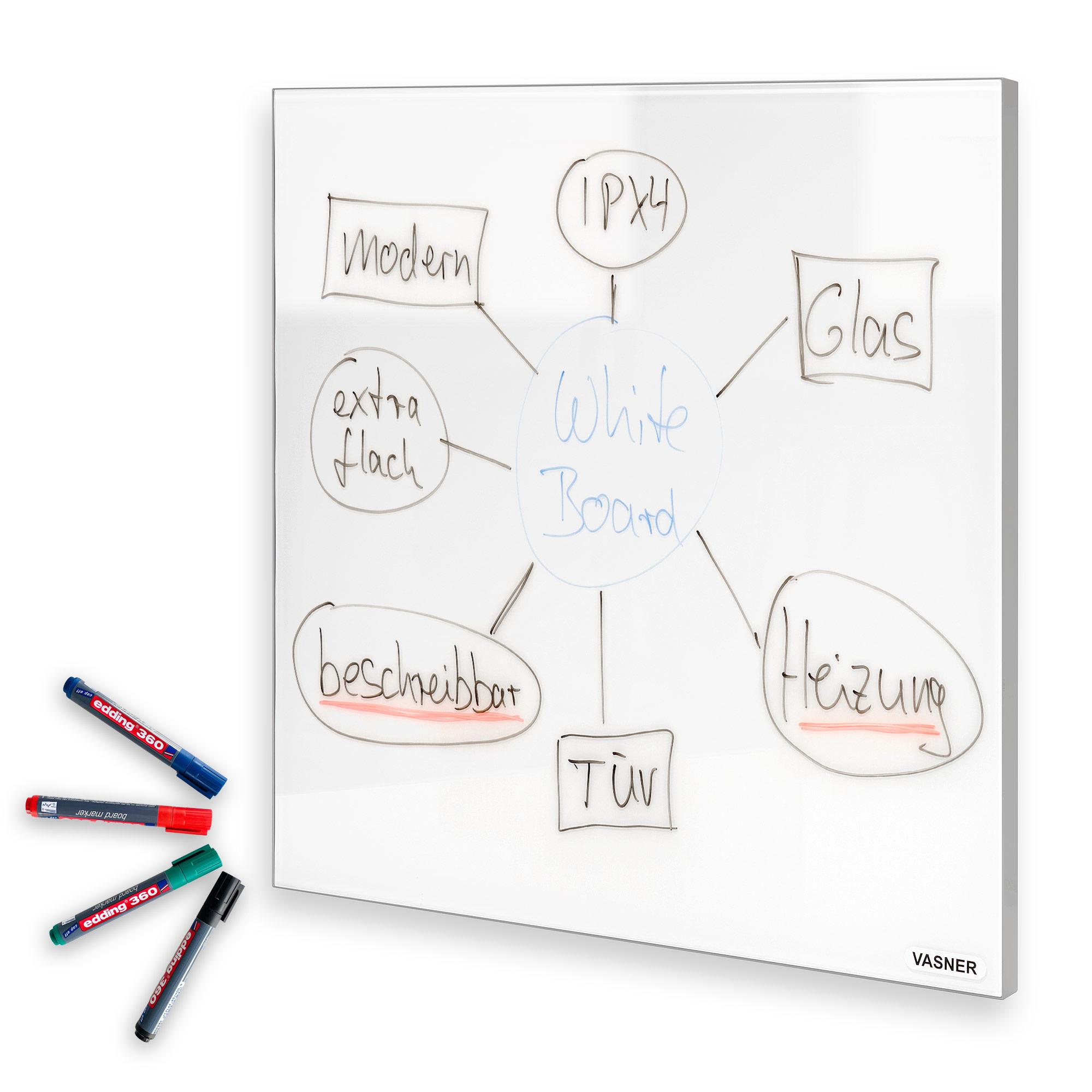 Infrarotheizung Glas beschreibbar mit Whiteboard Marker