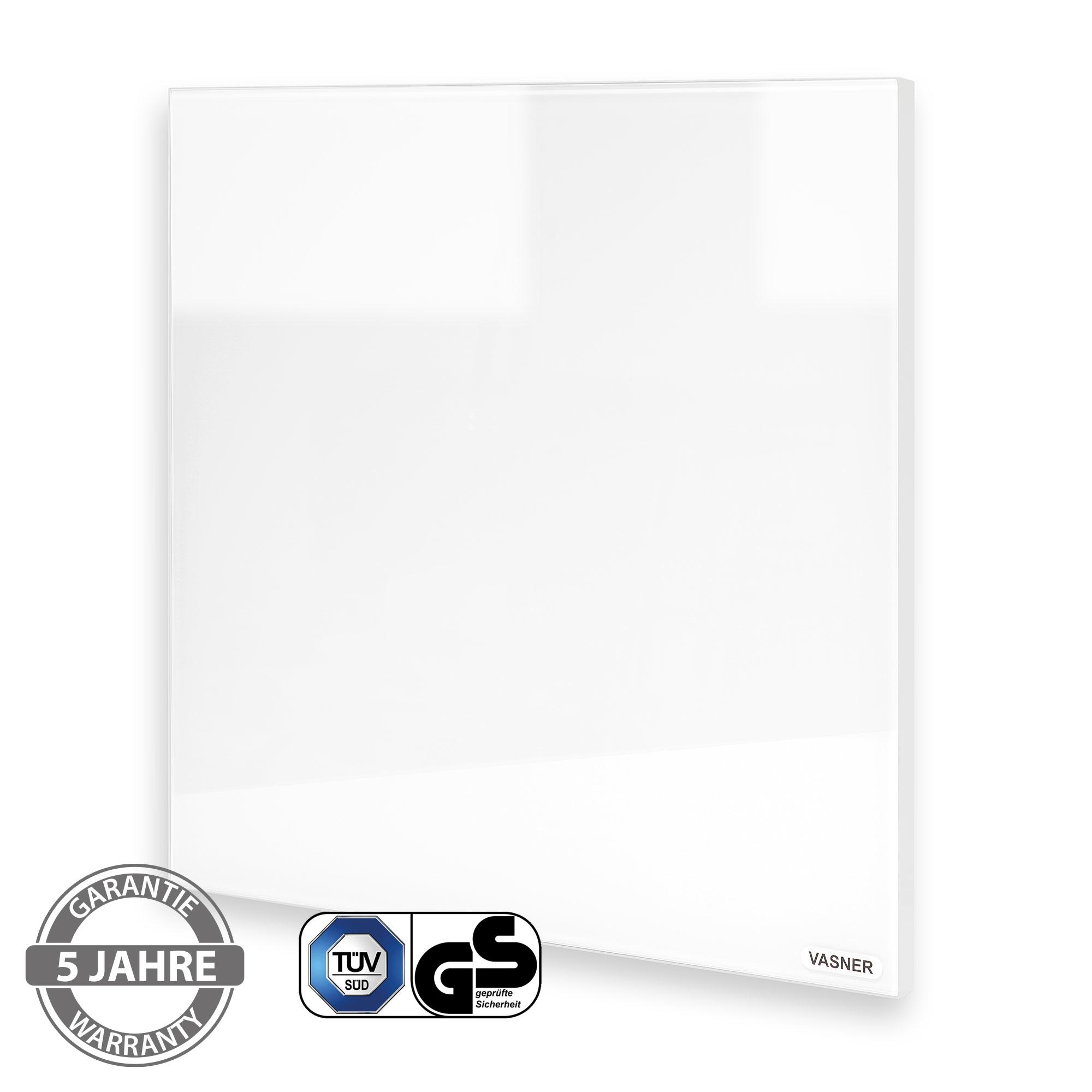 Infrarotheizung Glas Bad mit Metall Rahmen Weiß