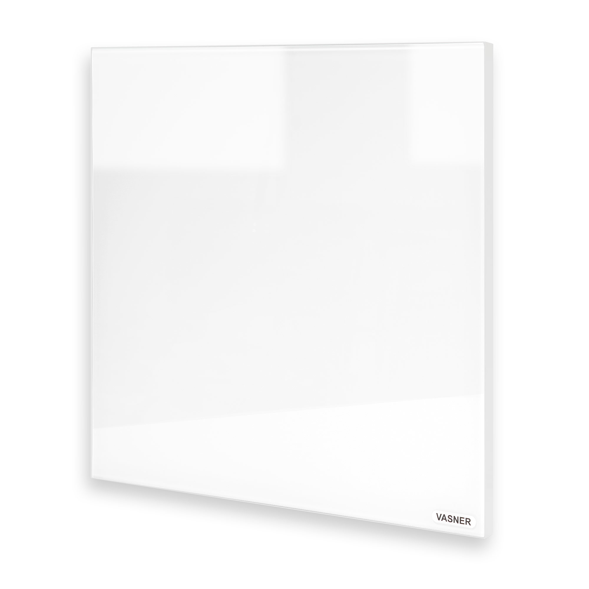 Infrarotheizung Glas rahmenlos Optik dank hauchdünner Metall Umrandung in Weiß