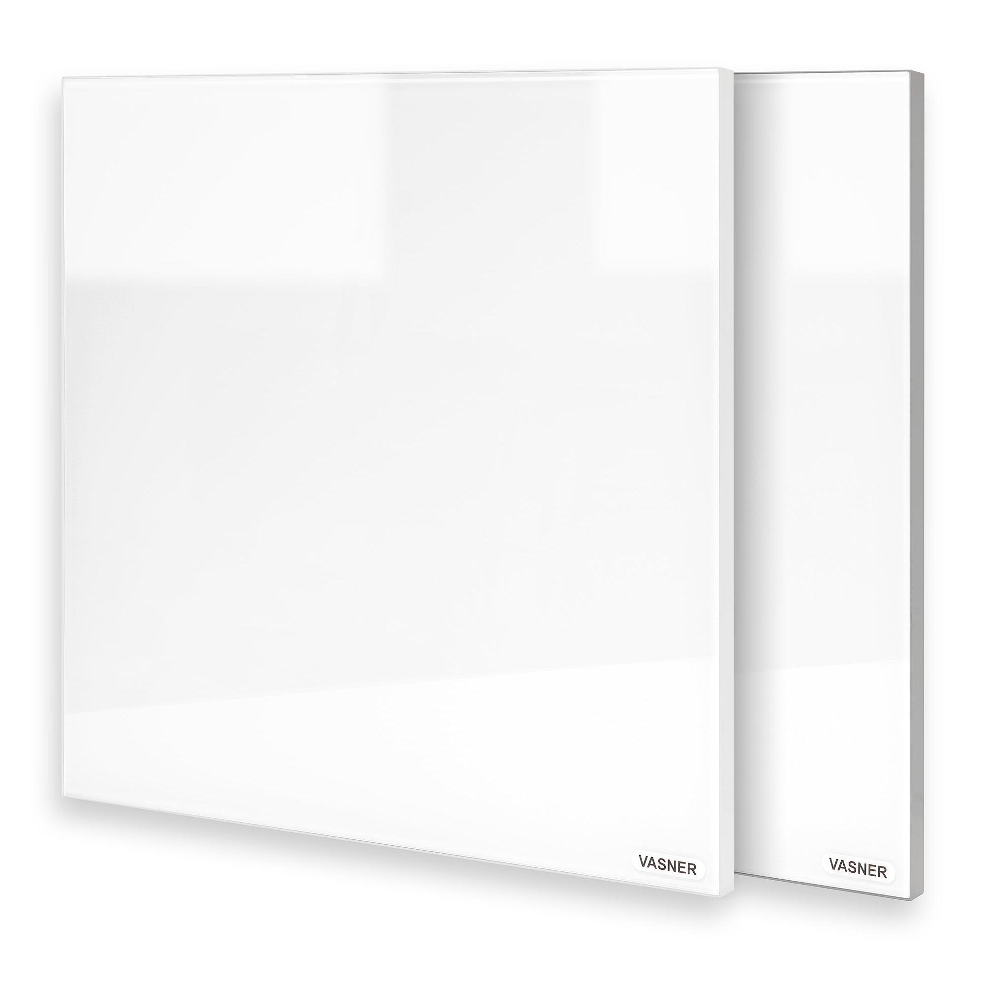 Design Heizkörper Glas mit Rahmen in Weiß & Grau
