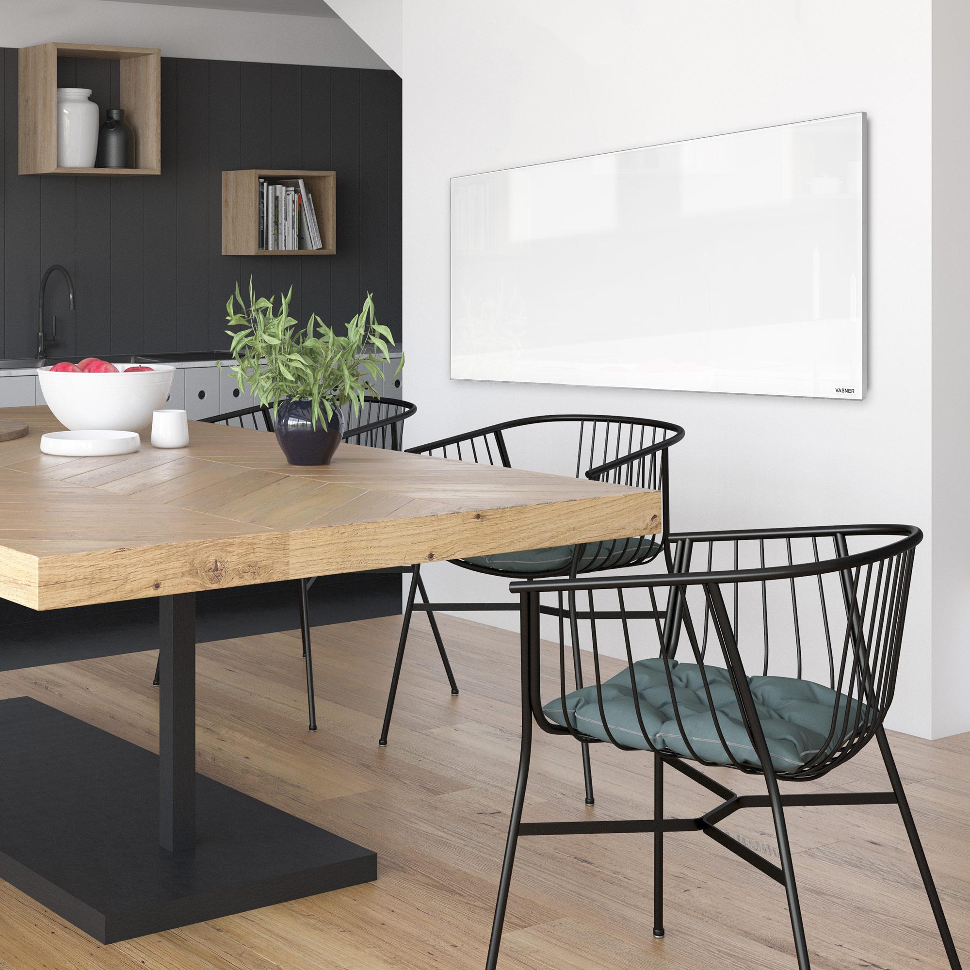 Infrarotheizung Glas Weiß mit Rahmen in der Küche