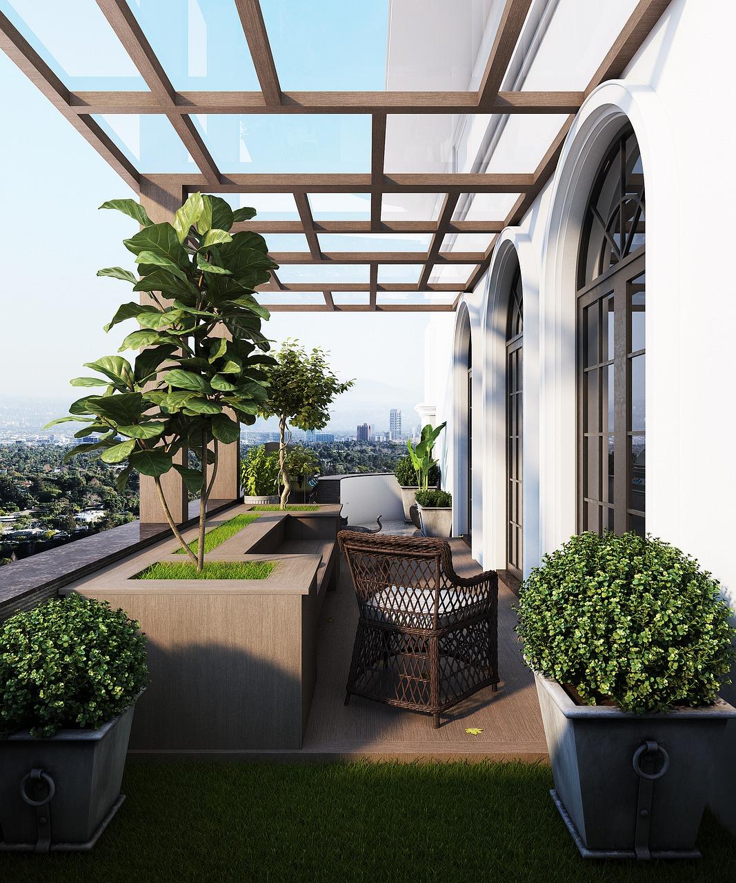 Balkon Möbel modern Terrasse bepflanzen