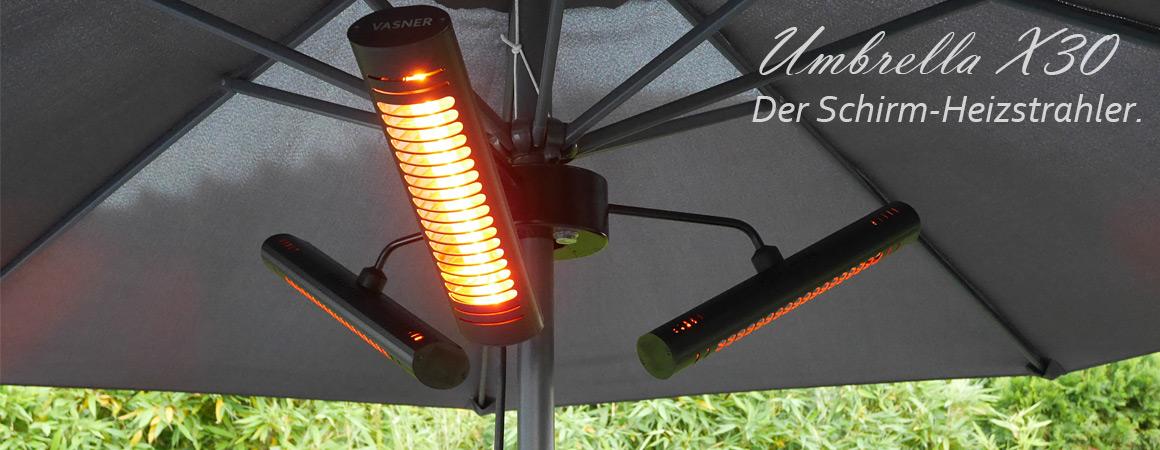 Sonnenschirm Infrarot Heizstrahler für gemütliche Wärme auf Dachterrassen mit Schirm